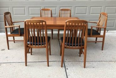 Danish modern teak dining set – $1,995 (shelby township)